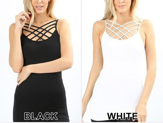 SEAMLESS TRIPLE CRISS-CROSS FRONT CAMI - BLACK + WHITE