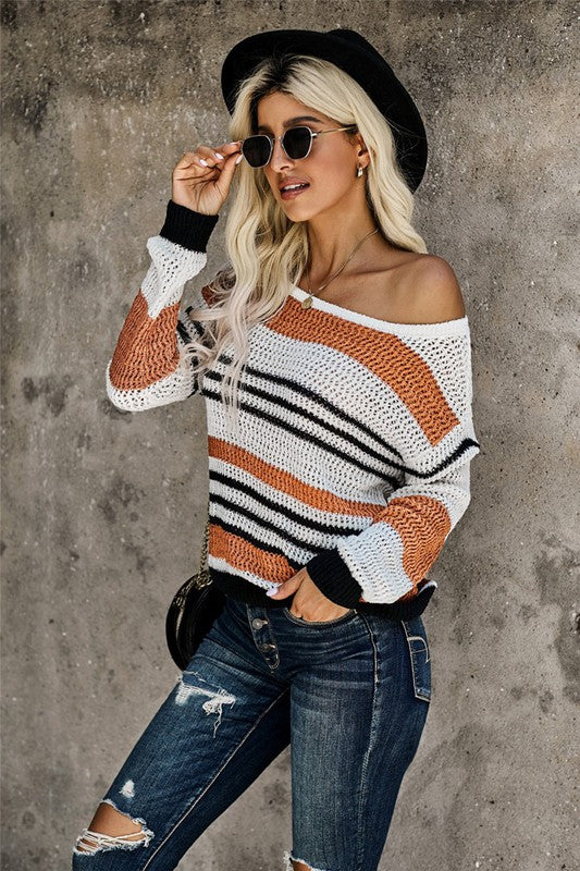 Striped Knit Sweater - Rust/Black/Ivory