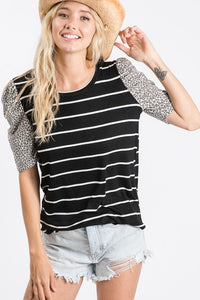STRIPE TEE WITH LEOPARD BUBBLE SLEEVE