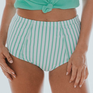 Mint & White Stripe Swim Midi Bottoms