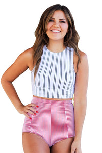 White Black Stripe Crop Top Swim Tankini Top