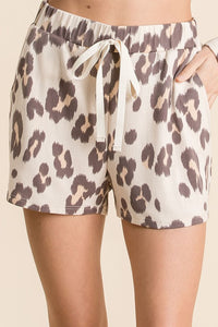 TAUPE LEOPARD PRINT LOUNGE SHORTS