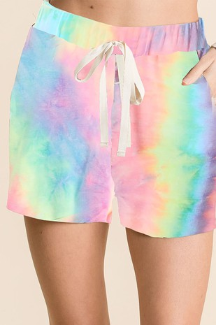 PASTEL TIE DYE FRENCH TERRY LOUNGE SHORTS