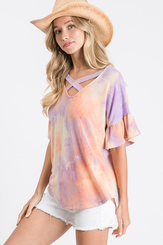 TIE DYE STRAPPY RUFFLE SLEEVE TOP - 2 COLORS