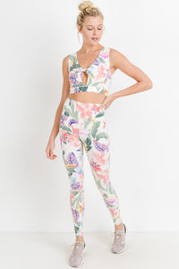 White Tropical Floral Active Leggings