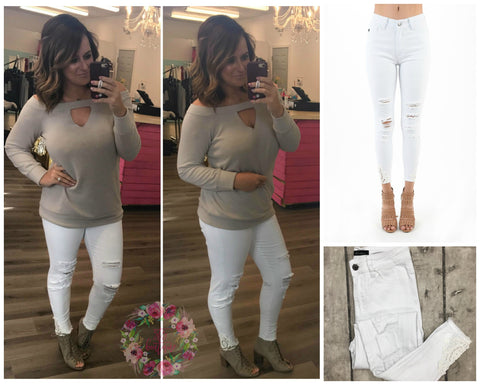 White Distressed with lace Detail Kancan Skinnies