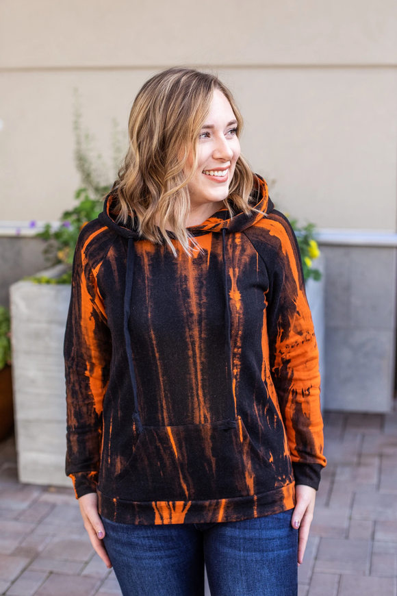 Zoey Hoodie - Black and Orange
