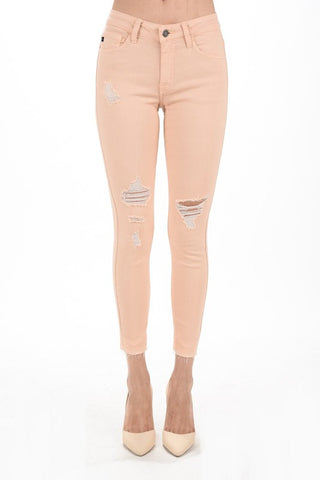 KanCan Apricot Distressed Ankle Skinnies