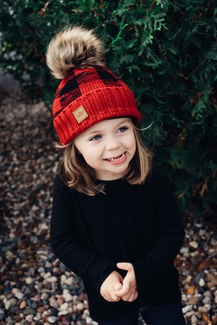 Kids Buffalo Plaid Knit Hat with Pom