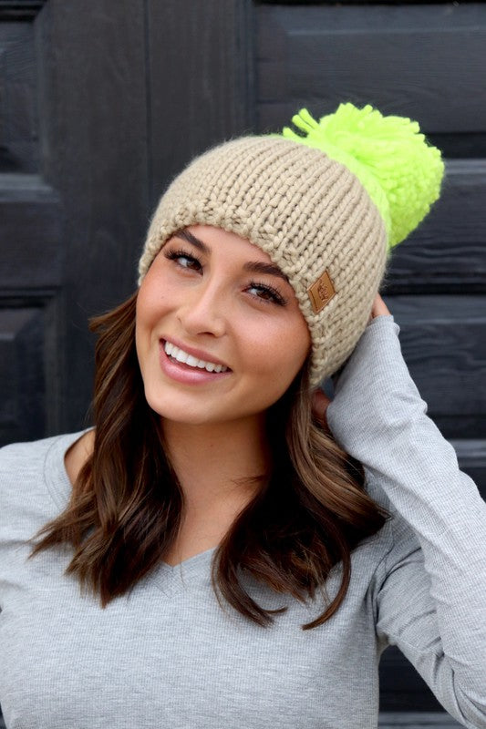 Color Block Neon + Taupe Fleece Lined Cable Knit Beanie with Pom