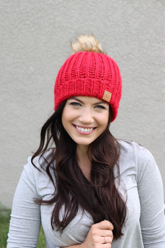 Red Fleece Lined Slouchy Pom Beanie Knit Hat
