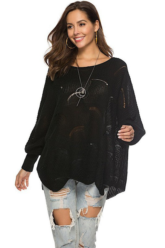 Black Cut Out Poncho