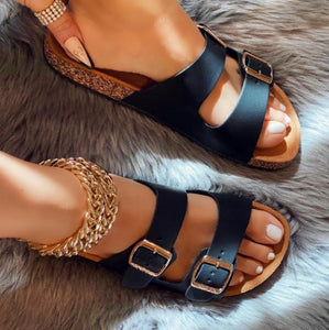 BLACK DOUBLE BUCKLE SUEDE SANDALS