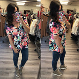 Maternity - Multi-color Floral Peplum Top