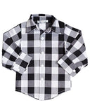 Kids -- Black & White Buffalo Plaid Button Up Top