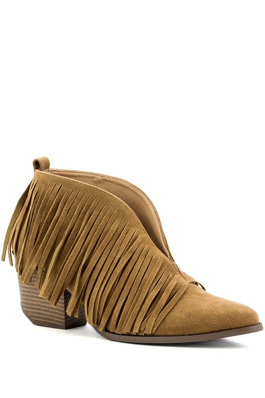 Low Cut Fringe Bootie - Camel