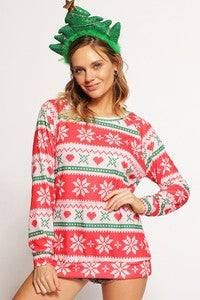 Christmas Theme Print Sweater Knit Top