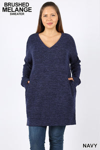 Curvy Oversized Long Sweater Top - Multiple Colors