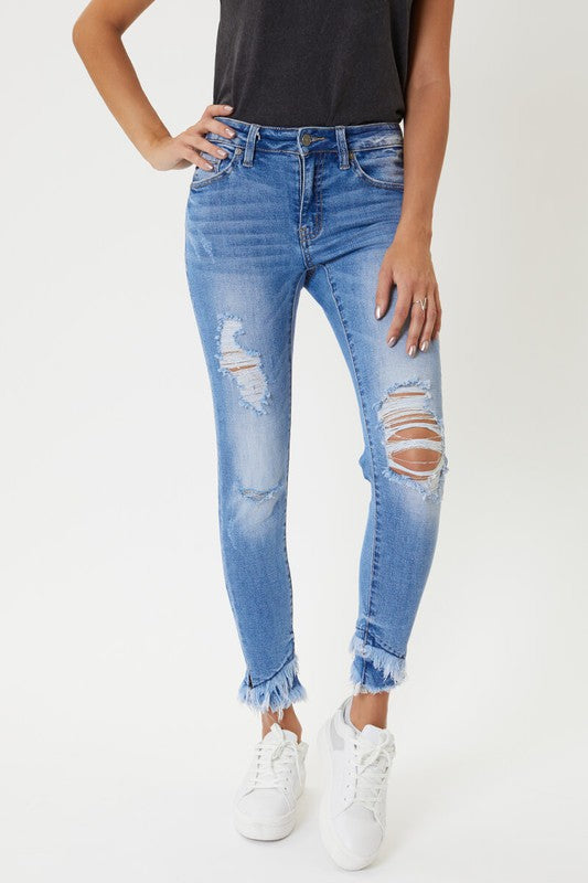 Kan Can Mid Rise Hem Detail Ankle Skinny Jeans - Erin