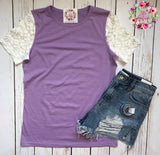 Lace Sleeve Tee - EXCLUSIVE Purple