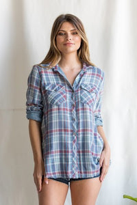 Vintage Plaid Button Up Top