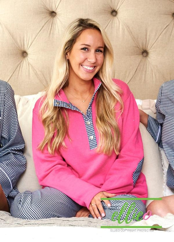 Hot Pink Pullover with Navy Gingham