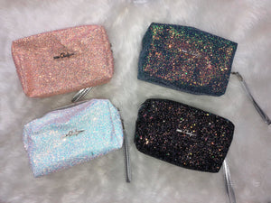 GLITTER MAKE UP BAGS - MULTIPLE COLORS