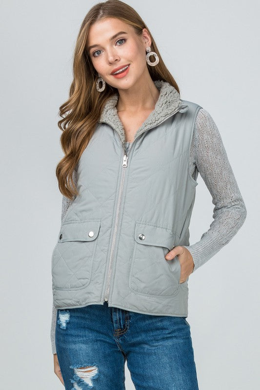 Reversible Quilted Sherpa Vest - All Sizes // Multiple Colors