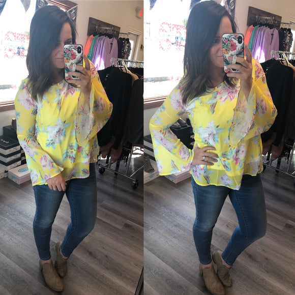 Just As You Are-- Yellow Floral Top