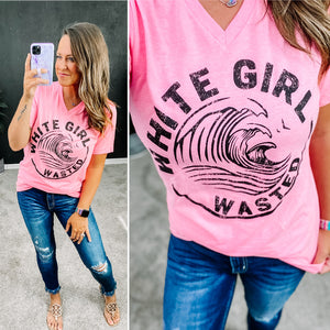 WHITE GIRL WASTED GRAPHIC TEE - HOT PINK