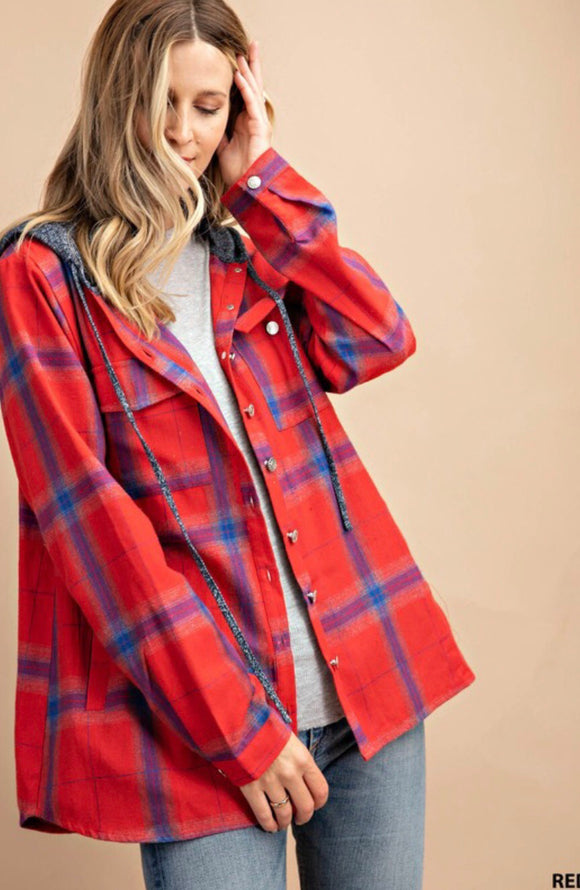 Plaid Hooded Button Jacket