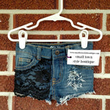 Girls Lace Front Panel Distressed Shorts