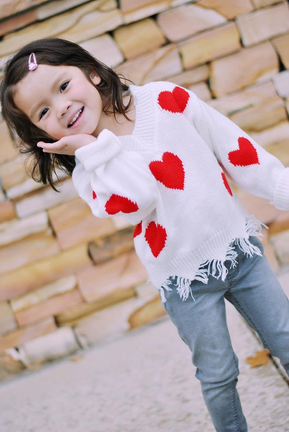 Frayed Heart Sweater - Kids