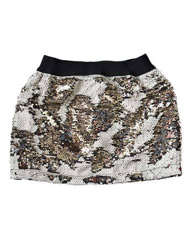 Kids -- Magic Color Changing Sequin Skirt - Cream/Gold