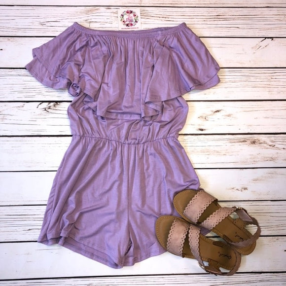 Lavender Off The Shoulder Romper