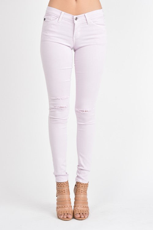 Lightly Distressed Colored Skinnies - Light Lilac