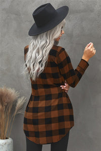 Rust + Black Long Plaid Tunic Top