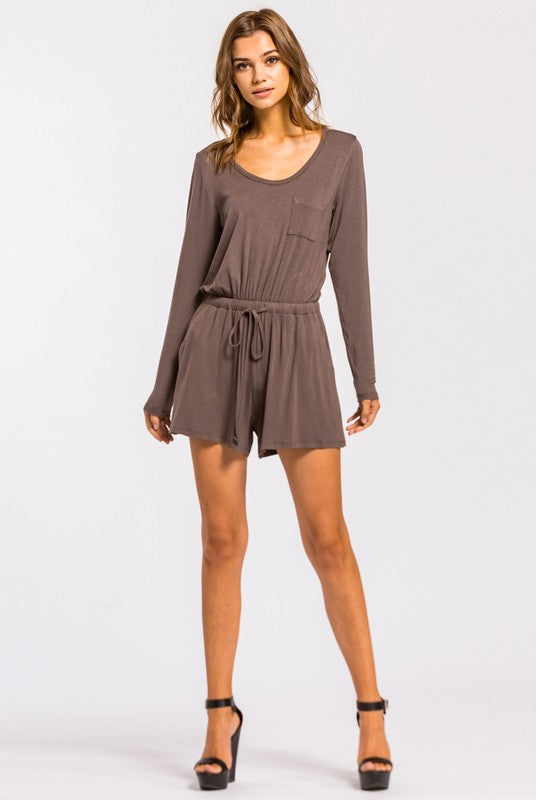 Long Sleeve Solid Knit Romper - Multiple Colors