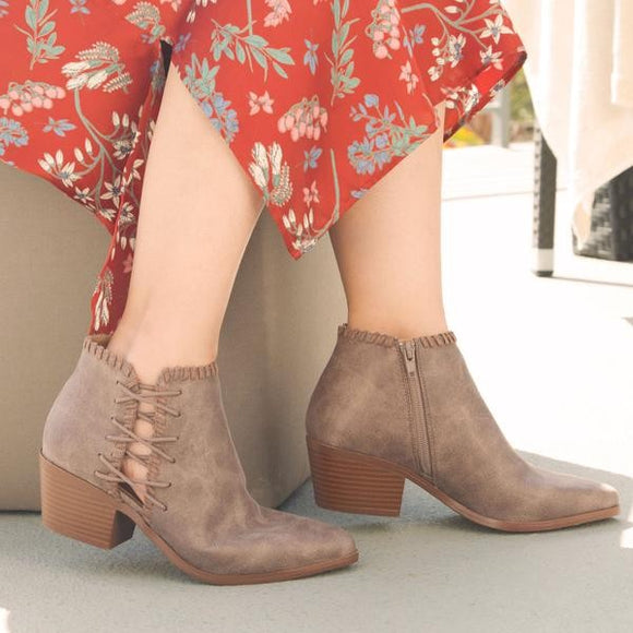 Side Lace Up Mid Stacked Heel Booties - Montana