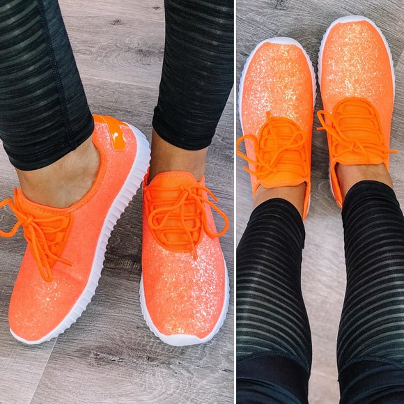 Step. Sparkle. Repeat. Orange Glitter Sneakers