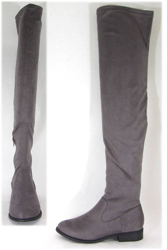 Grey Over the Knee Suede Boots