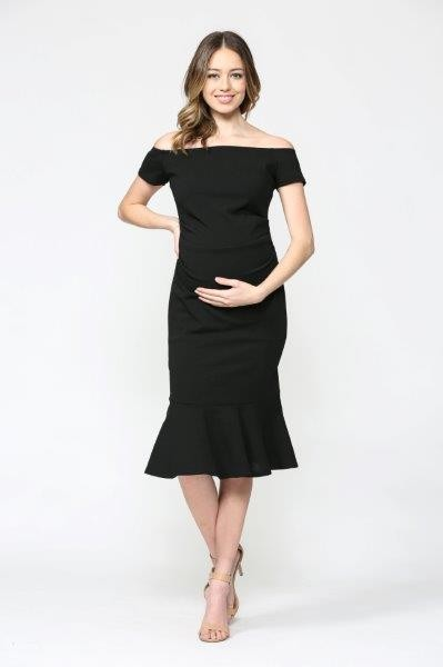 Black Mermaid Hem Dress - Maternity