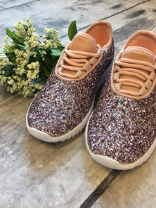 Step. Sparkle. Repeat. Glitter Sneakers - Pink