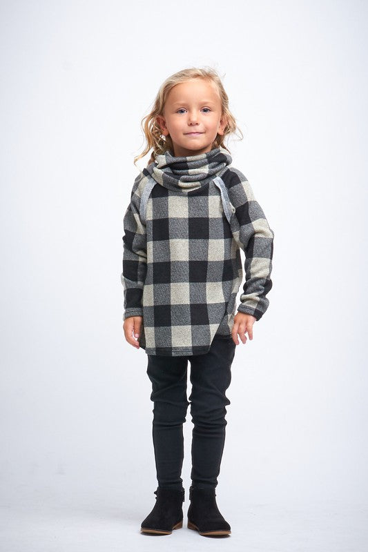 Plaid Cowl Neck Top- KIDS