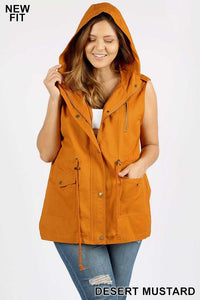 Curvy Hooded Military Vests - Multiple Colors Available