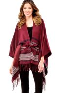 STRIPED WOVEN CAPE WITH BELT AND POCKETS - 2 COLORS