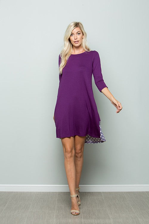 3/4 Sleeve Swing Dress - Purple Dot - All Sizes Available