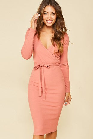 Ash Rose Ribbed Bodycon Dress