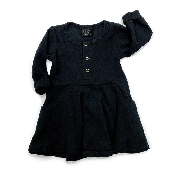 Little Bipsy Ribbed Dress- Black