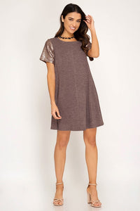 Short Sleeve Sequin Sleeve Dress - Multiple Colors